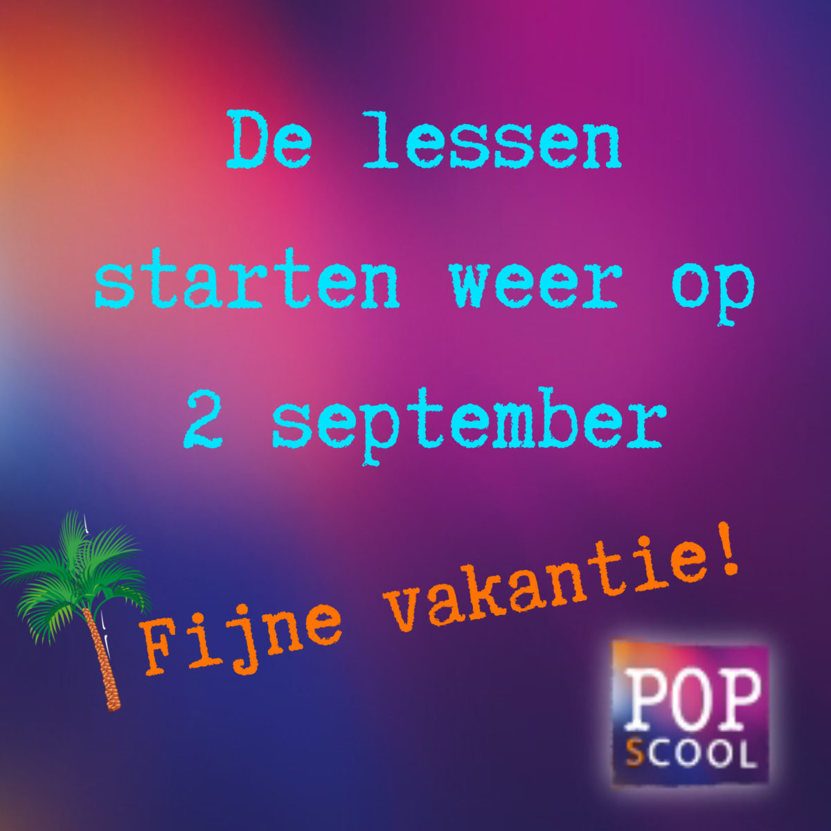 Lessen starten op 2 september